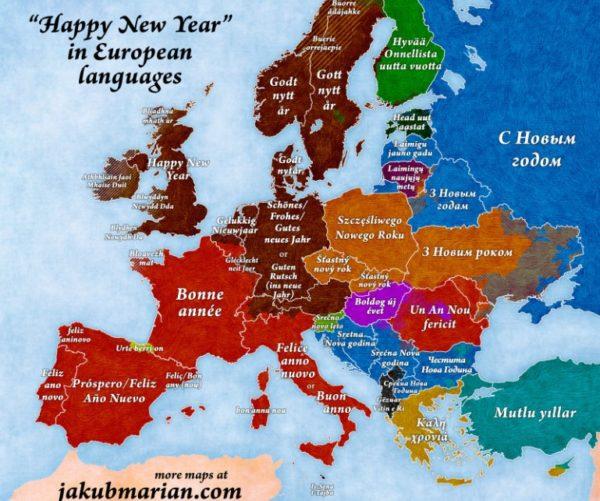 """""""GËZUAR VITIN E RI!"""" - Në shumë gjuhë të Botës! Harta tregon edhe lidhjet etimologjike mes gjuhëve!"""