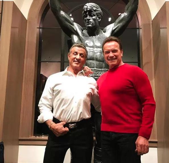 Edhe Aktorët e Mëdhenj Bëjnë Vizita për Krishtlindje! Terminatori viziton Rocky-n! Ja si e pret Ai...