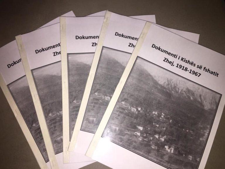 """Njihuni me librin""""Dokumenti i Kishës së fshatit Zhej,1918-1967""""përkthyer nga greqishtja nga Sotir Ballo"""