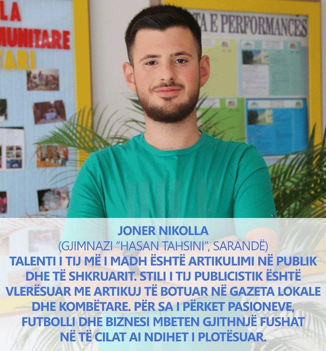 Joner Nikolla nga Saranda njeri nga 10 maturantet me te shkelqyer te Matures Shteterore 2020 ne Shqiperi