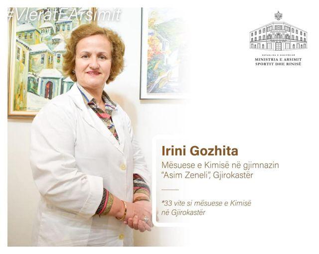 Ministrja e Arsimit  Evis Kushi vlereson Irini Gozhiten nga Gjirokastra qe ushtron me pasion detyren e mesueses se kimise