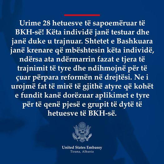 Njoftim i rendesishem i Ambasades Amerikane: Urime 28 hetuesve të sapoemëruar të BKH-së!